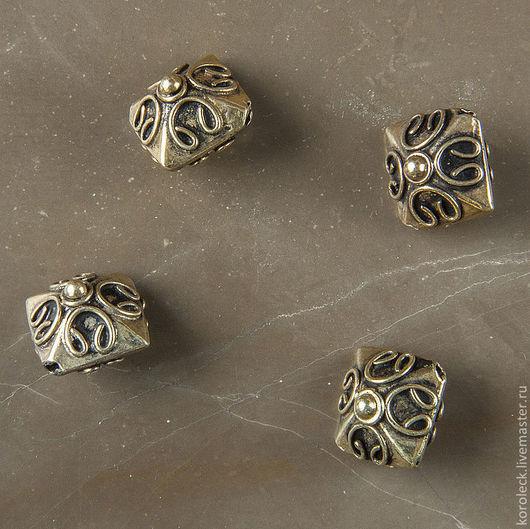 Для украшений ручной работы. Ярмарка Мастеров - ручная работа. Купить Бусина Танах, серебро с позолотой антик. Handmade. Золотой