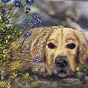 """Картины и панно ручной работы. Ярмарка Мастеров - ручная работа Картина вышитая лентами """"Собака - символ 2018 года"""". Handmade."""