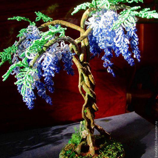 Деревья ручной работы. Ярмарка Мастеров - ручная работа. Купить Бисерное дерево. Глициния. Handmade. Синий, бисер чешский
