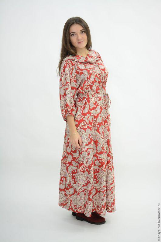 """Платья ручной работы. Ярмарка Мастеров - ручная работа. Купить Платье """"Валаам"""" с капюшоном. Handmade. Ярко-красный"""