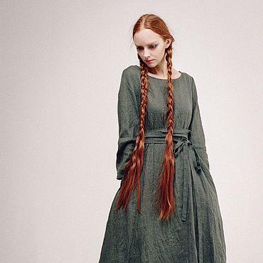 """Одежда ручной работы. Ярмарка Мастеров - ручная работа Льняное платье """"Красота простых линий"""" (зелёный дымчатый). Handmade."""