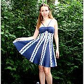 Одежда ручной работы. Ярмарка Мастеров - ручная работа Сарафан синий с бирюзой. Handmade.