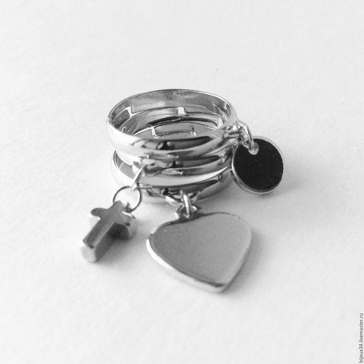 Кольца ручной работы. Ярмарка Мастеров - ручная работа. Купить Комплект колец с подвесками, родий, серебряный цвет. Handmade.