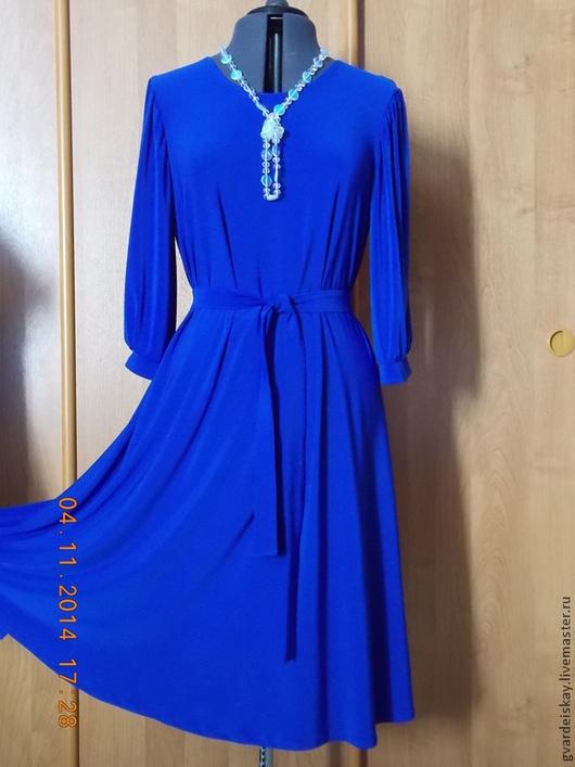"""Платья ручной работы. Ярмарка Мастеров - ручная работа. Купить Платье """"Ветерок"""". Handmade. Синий, трикотаж"""