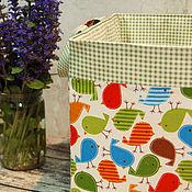"""Для дома и интерьера ручной работы. Ярмарка Мастеров - ручная работа Корзина текстильная для игрушек """"Птички"""". Handmade."""