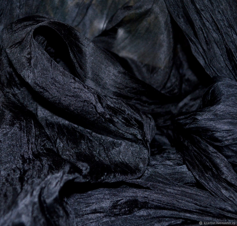 Шелковый шарф палантин черный большой длинный, Шарфы, Вязьма,  Фото №1