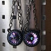 Украшения ручной работы. Ярмарка Мастеров - ручная работа Серьги из бисера с фиолетовым кристаллом Swarovski. Handmade.