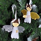 Елочные игрушки ручной работы. Ярмарка Мастеров - ручная работа Елочные игрушки Ангелы из фетра. Handmade.