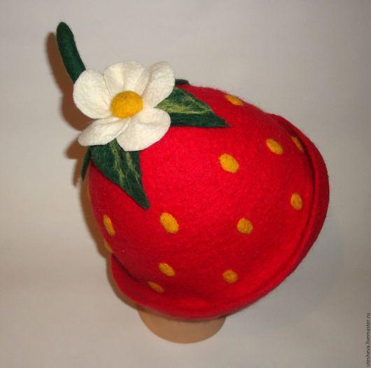 """Банные принадлежности ручной работы. Ярмарка Мастеров - ручная работа. Купить Банная шапка """"Ягодка"""". Handmade. Шапка для бани, шерсть"""