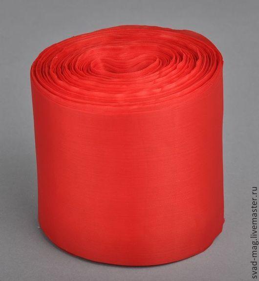 Аппликации, вставки, отделка ручной работы. Ярмарка Мастеров - ручная работа. Купить Лента нейлон 100 мм, красный (90 м), арт N100-22-35. Handmade.
