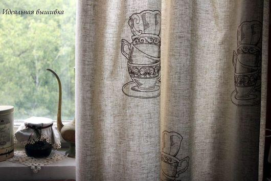 """Текстиль, ковры ручной работы. Ярмарка Мастеров - ручная работа. Купить Шторы льняные с вышивкой """"Чашки"""". Handmade. Шторы, серый"""