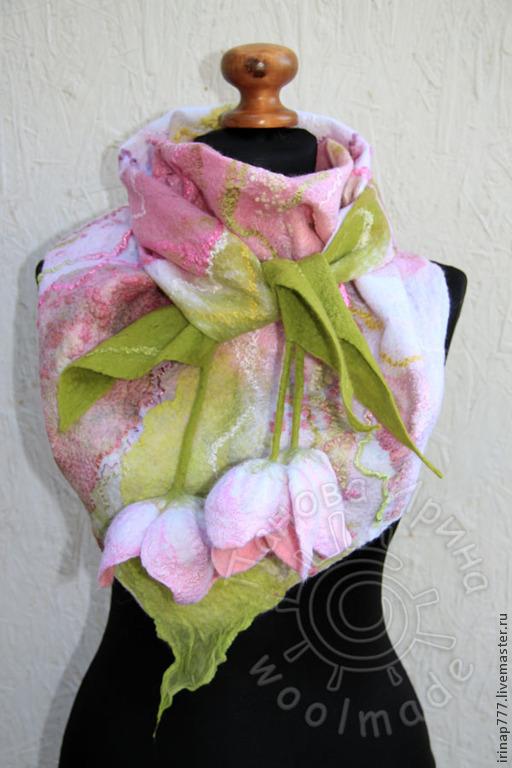"""Шарфы и шарфики ручной работы. Ярмарка Мастеров - ручная работа. Купить бактус """"Весна"""". Handmade. Бледно-розовый, весенний подарок"""