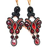 Украшения handmade. Livemaster - original item Soutache earrings Christmas Bows. Handmade.