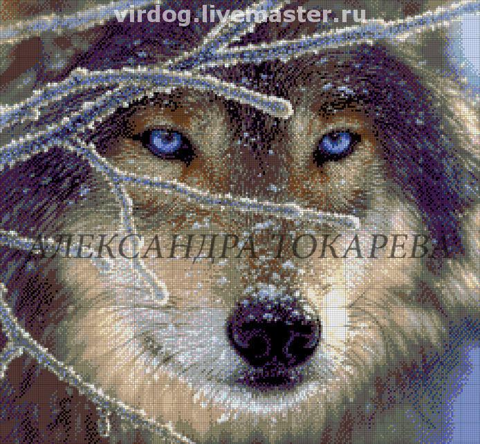 Волк, голубой, бисер