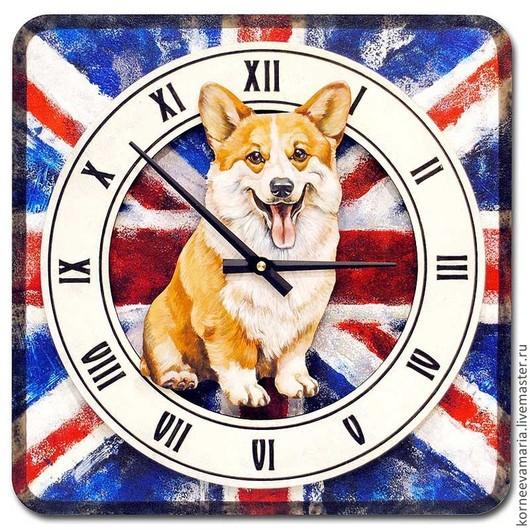 Часы для дома ручной работы. Ярмарка Мастеров - ручная работа. Купить Часы «Вельш корги». Handmade. Часы, собачка