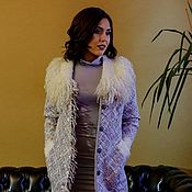 Одежда handmade. Livemaster - original item Tweed coat with a collar made of eco-fur. Handmade.