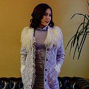 Одежда ручной работы. Ярмарка Мастеров - ручная работа Пальто твидовое с воротником из эко-меха. Handmade.