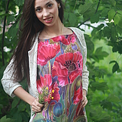 Одежда ручной работы. Ярмарка Мастеров - ручная работа Батик шелковая блуза  Опиум. Handmade.
