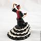 Miniature ceramic figurine bell `Dance with castanets`. Ceramics, glaze