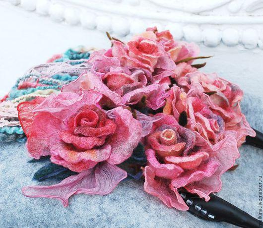 Женские сумки ручной работы. Ярмарка Мастеров - ручная работа. Купить Валяная сумка на кожаных ручках Розы Альбиона. Handmade.