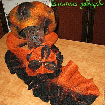 Аксессуары ручной работы. Ярмарка Мастеров - ручная работа Комплект валяный Оранжевый закат. Handmade.