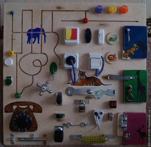 Развивающие игрушки ручной работы. Ярмарка Мастеров - ручная работа. Купить РАЗВИВАЮЩАЯ ДОСКА. Handmade. Разноцветный, развивающие игры, фанера