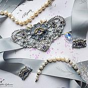 Свадебный салон ручной работы. Ярмарка Мастеров - ручная работа Свадебный пояс светло-серый. Handmade.