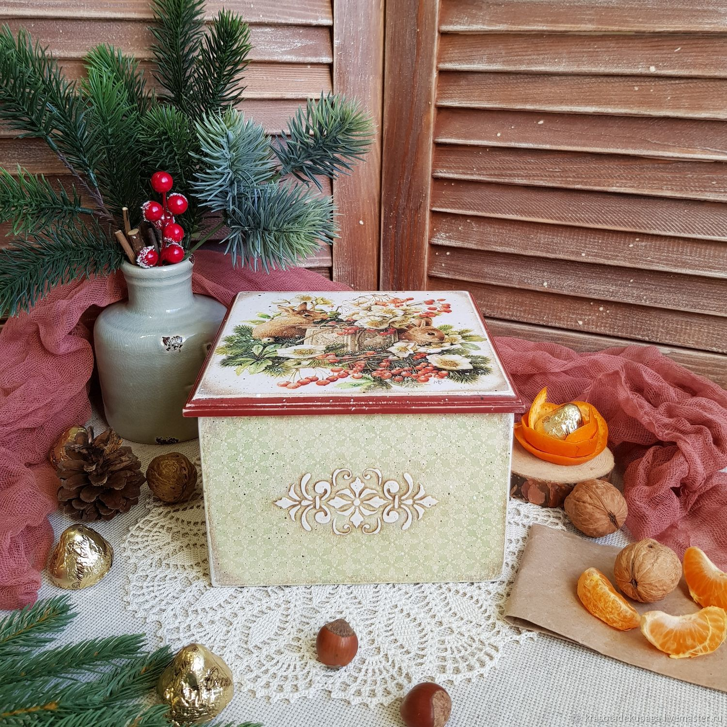 """Box Christmas """"Bunny"""" decoupage – shop online on Livemaster with"""