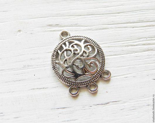 Коннектор металлический для украшений, размер 26.5x20x3 мм цвет античное серебро,  материал - сплав металлов (арт. 2125)