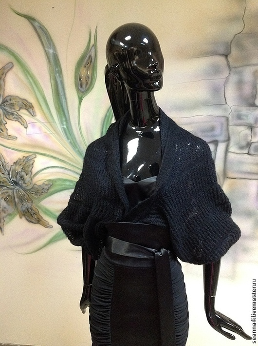 """Болеро, шраг ручной работы. Ярмарка Мастеров - ручная работа. Купить Болеро вязаное """"Легкая дымка"""" многофункциональное. Handmade. Черный"""