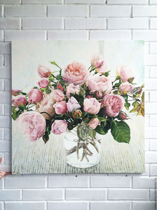 Картины цветов ручной работы. Ярмарка Мастеров - ручная работа. Купить Картина маслом Пионовидные розы в банке 80х80 см. Handmade.