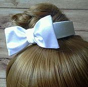 Работы для детей, handmade. Livemaster - original item Headband with hair bow on a bun (the bun) for school. Handmade.
