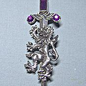 Винтаж handmade. Livemaster - original item Miracle!  A huge lion Brooch and the Sword! purple!. Handmade.