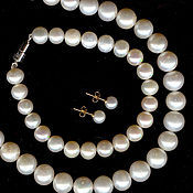 Украшения handmade. Livemaster - original item natural pearl - set - necklace, bracelet, earrings. Handmade.