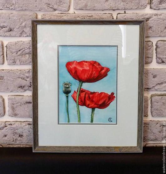 Картины цветов ручной работы. Ярмарка Мастеров - ручная работа. Купить Маки. Handmade. Комбинированный, цветы, цветы акварель