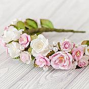 Украшения ручной работы. Ярмарка Мастеров - ручная работа Розовый ободок для волос, Розовый венок с цветами, Свадебное украшение. Handmade.