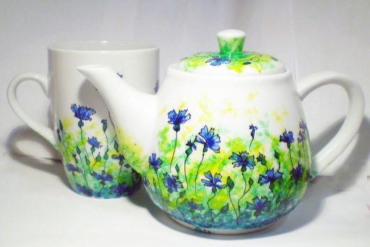 Сервизы, чайные пары ручной работы. Ярмарка Мастеров - ручная работа. Купить Васильковый набор (чайник+чашка) (0125). Handmade. Травы