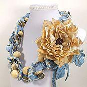 Украшения handmade. Livemaster - original item Vacation in Denim Color. Necklace and brooch - flower. Handmade.
