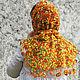 Knitted shawl scarf for women gift fishnet Orange Autumn. Shawls. Azhurles. My Livemaster. Фото №4