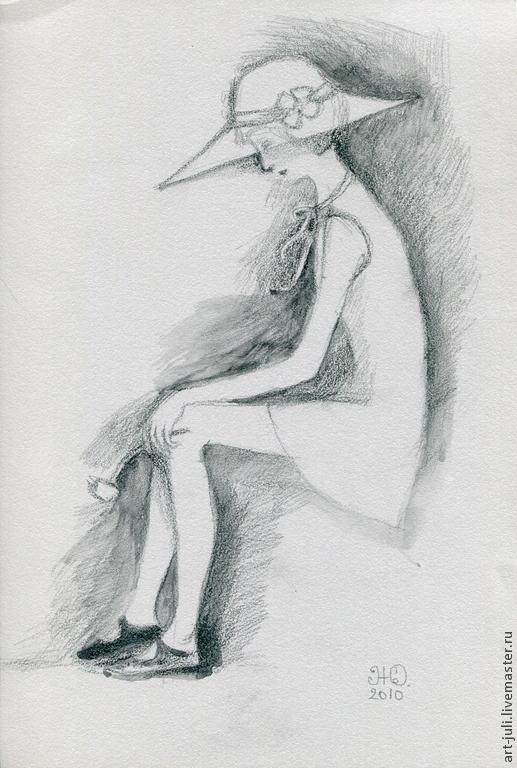 """Люди, ручной работы. Ярмарка Мастеров - ручная работа. Купить рисунок """"Знойное лето"""". Handmade. Чёрно-белый"""