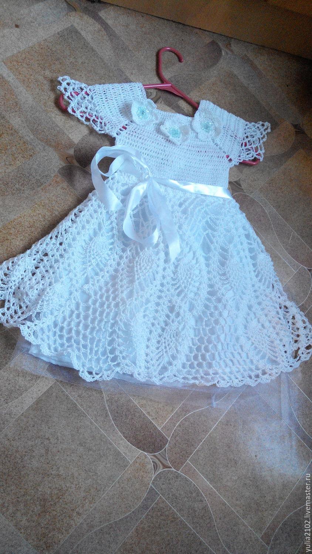 Вязаное платье для девочки крючком. 203 схемы вязания 48