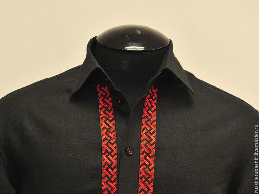 """Для мужчин, ручной работы. Ярмарка Мастеров - ручная работа. Купить Рубашка с вышивкой """"Четыре солнца"""". Handmade. Черный, хлопок"""