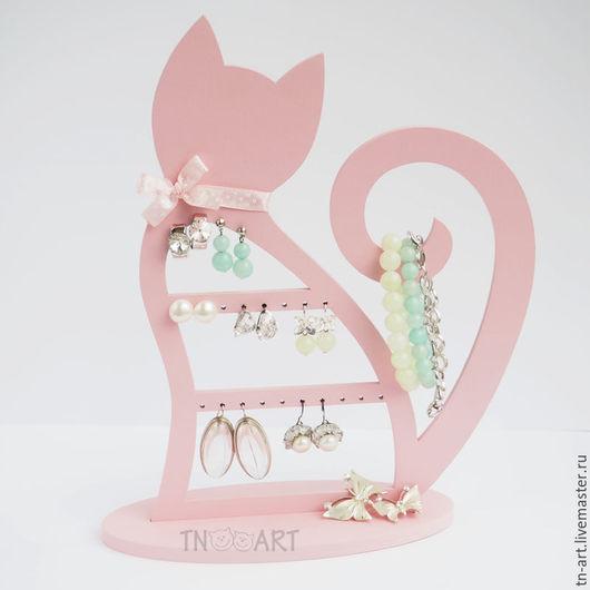 Шкатулки ручной работы. Ярмарка Мастеров - ручная работа. Купить Кошечка розовая - подставка для украшений. Handmade. Подставка для украшений