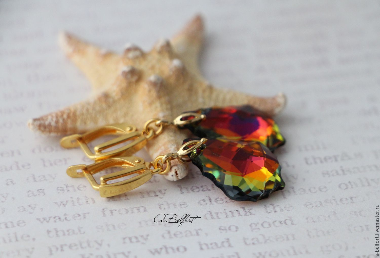 Earrings handmade. Livemaster - handmade. Buy gold plated earrings with Swarovski crystals 'Tamer of volcanoes'.Swarovski