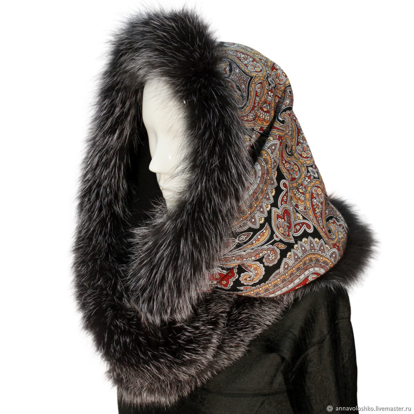 Snood-a scarf with fur trimmed 'Blooming stones', Snudy1, Moscow,  Фото №1