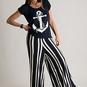 Одежда handmade. Livemaster - original item Summer women`s set, pants and t-shirt with anchor - SE0306TR. Handmade.