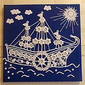 """Картины и панно ручной работы. Ярмарка Мастеров - ручная работа Вязаная картина """" Плывем в Ирландию"""". Handmade."""