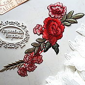 Материалы для творчества ручной работы. Ярмарка Мастеров - ручная работа Патч пришивной на одежду, веточка розы, аппликация. Handmade.
