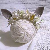 Работы для детей, ручной работы. Ярмарка Мастеров - ручная работа Ободок с ушками. Handmade.