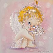 Картины и панно ручной работы. Ярмарка Мастеров - ручная работа Картина на шелке Ангелочек... Handmade.